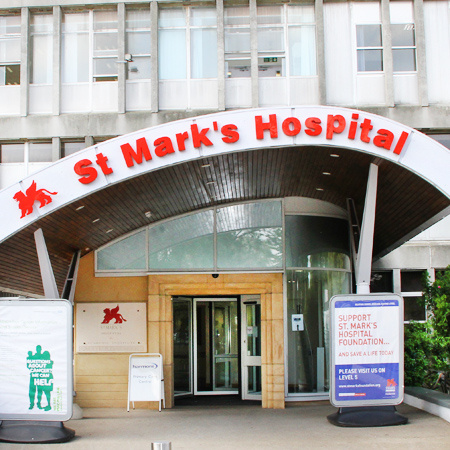 The main entrance of St Mark's Hospital.